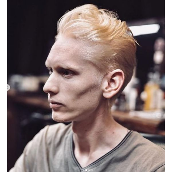Long Yellow Blonde Slick-back Men Haircut