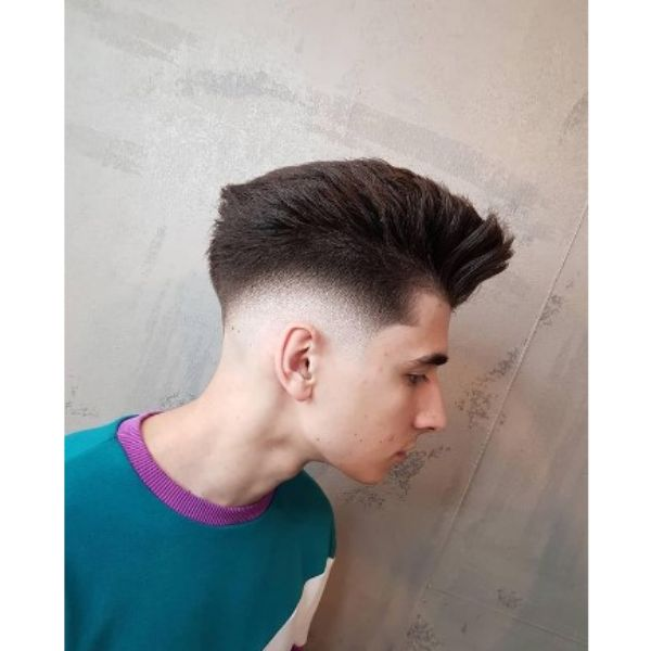 Low Fade Haircut With Pompadour Top
