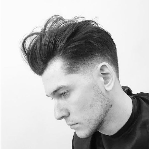 Messy Pompadour With Widow Peak Men Haircuts