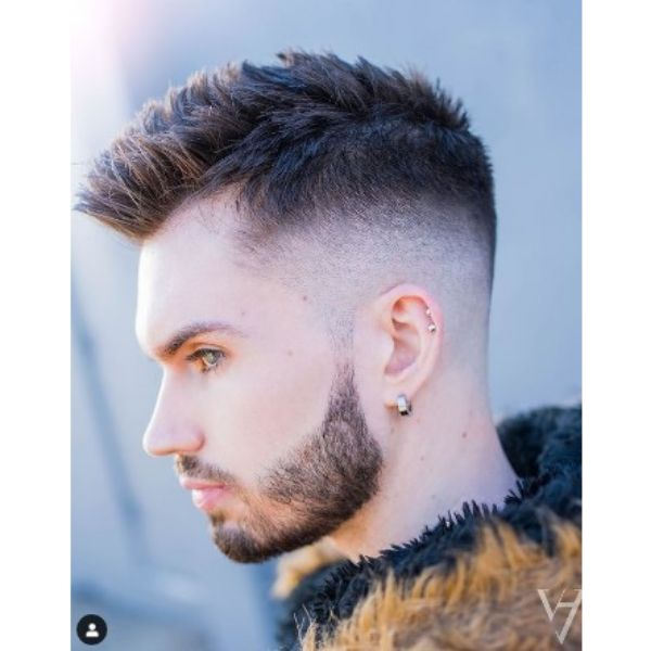 Mid Fade Haircut With Spiky Top Widow Peak