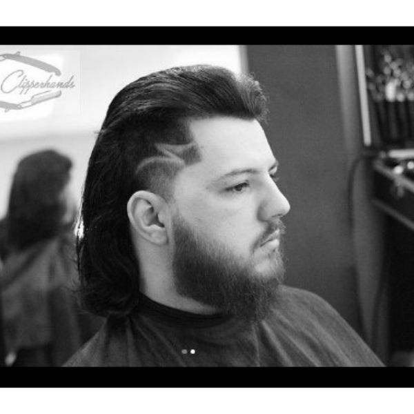 Mullet Haircut With Side Razor Design