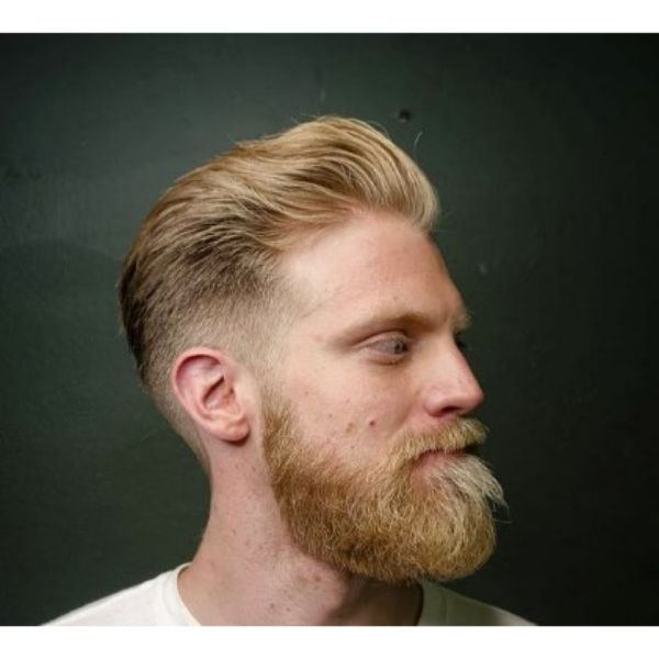 Sharp Fade With Blonde Wavy Top And Beard
