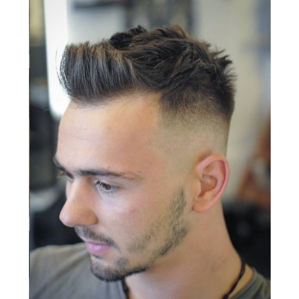 Sharp Fade With Spiky Messy Top For Widows Peak Hairstyles