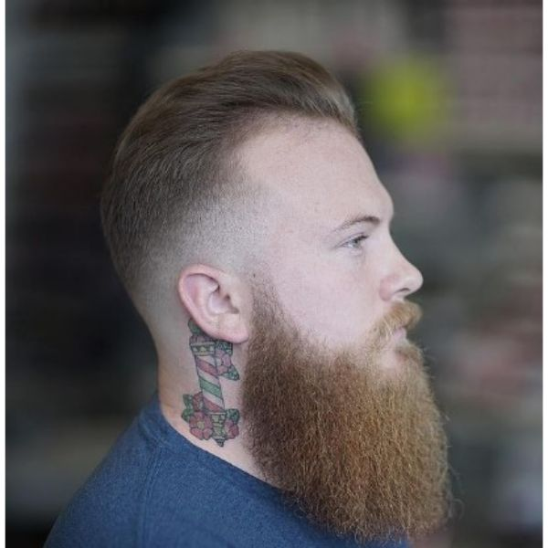 Sharp Fade With Widows Peak Hairstyles And Long Beard