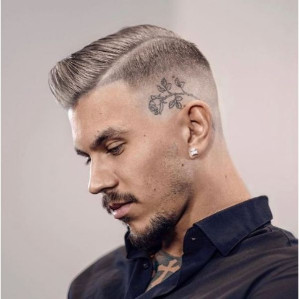 Sharp High Fade With Spiky Top Haircut And Steel Gray Hair Color