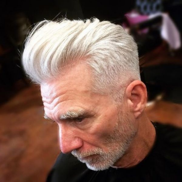 Silver Fox Pompadour With Sharp Fade And Widows Peak