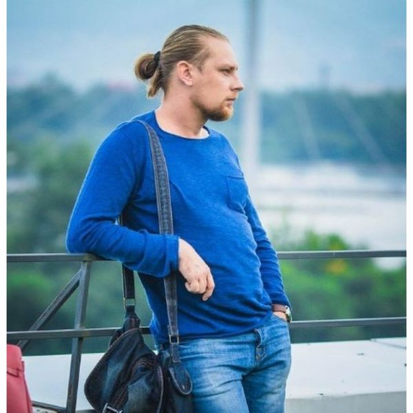 Sleek Man Bun With Widows Peak Hairstyles