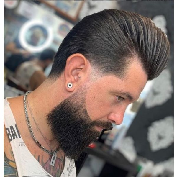 Sleek Pompadour With Widows Peak Hairstyles Haircut