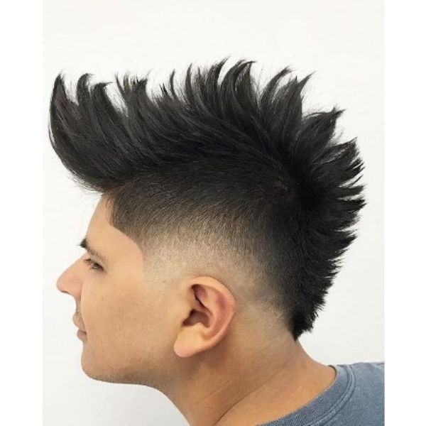 Spiky Mohawk With Blurry Fade Haircut