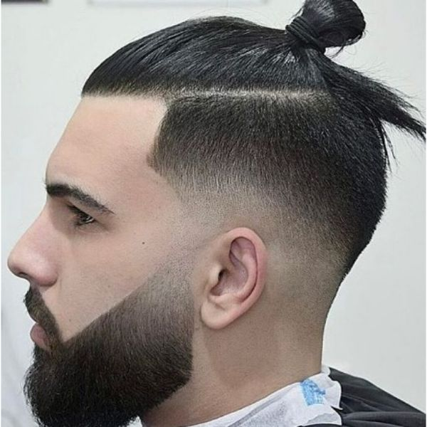 Top Knot With High Fade For Widow Peak