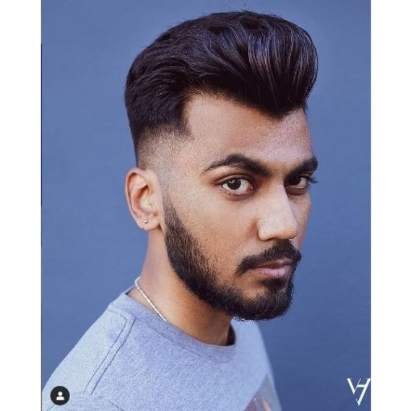 Voluminous Pomp With Low Fade Men Hairstyle