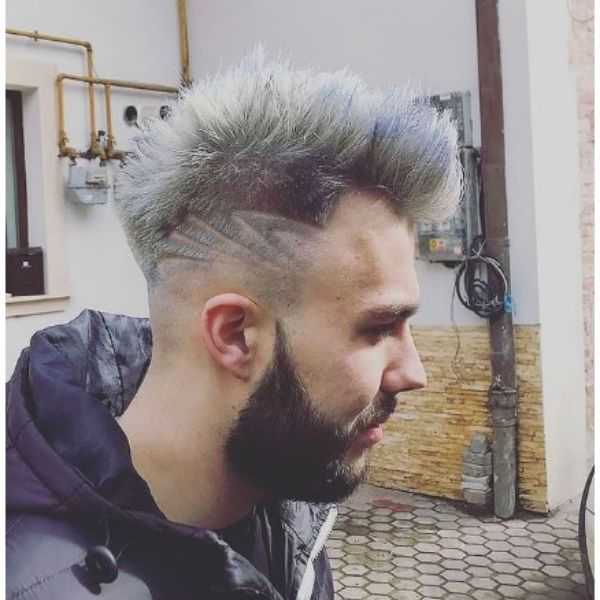 White Gray Spiky Haircut With Artistic Side Design
