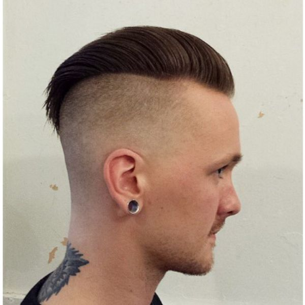 Zero Fade With Slick Back Ducktail For Widow Peak Hair