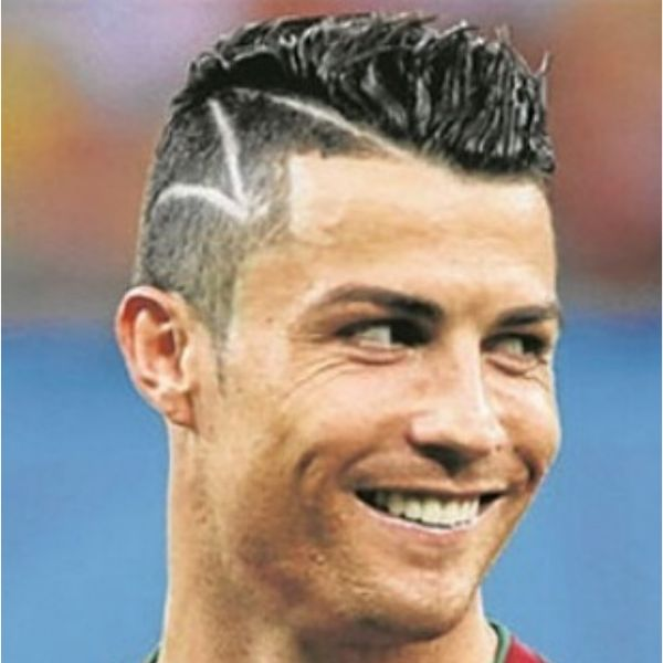 High Fade With Z-Shaped Design And Spiky Top Cristiano Ronaldo Hairstyles